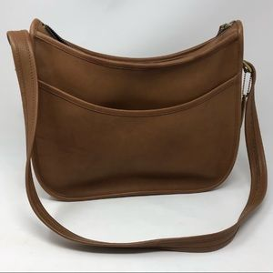 Vintage Coach Genuine Leather Zip Shoulder Bag Tan